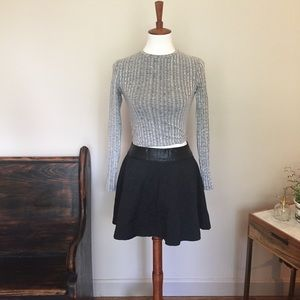 New Look Ribbed Knit Long Sleeve Crop Top